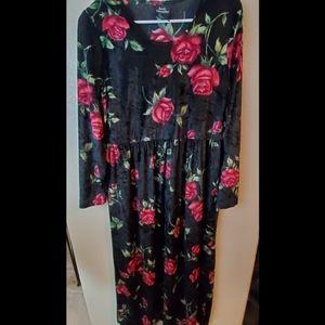 Vintage Brett Alixander Velvet Floral Maxi Dress
